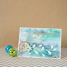 Papiernictvo - Tyrkysové Vianoce - mixed media pohľadnica s hodinami - 8837458_