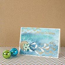 Papiernictvo - Tyrkysové Vianoce - mixed media pohľadnica so zlatým ornamentom - 8837477_