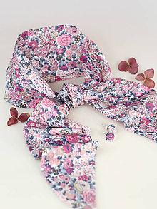 Šatky - Dámska pôvabná kvetinová šatka s náušnicami z exkluzívnej látky Liberty of London - 8837263_