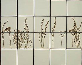 Dekorácie - Keramické obkladačky s motívom rastliniek - 8839391_