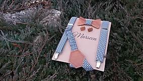 - Pánsky set- drevený motýlik, manžetové gombíky a traky - 8836162_