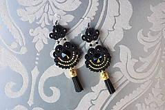 Ručne šité šujtášové náušnice / Soutache earrings Demona - Swarovski