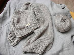 Čiapky - Mohérový set: čiapka a šál, béžový - 8838377_