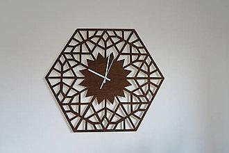 Hodiny - Nástenné drevené hodiny Hexagon orech - 8837392_