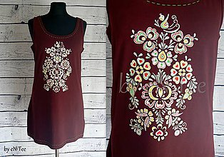 Šaty - Maľované ľudové mini šaty - 8838270_