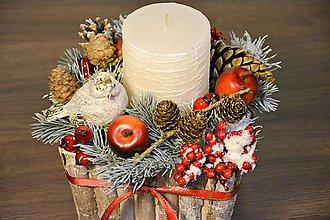"""Svietidlá a sviečky - Vianočný svietnik """"V zasneženom lese"""" - 8839768_"""