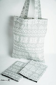 Nákupné tašky - Niečo ako EKOtaška - čičmianska sivá - 8834557_