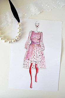 Kresby - Fashion sketch A4 (Fashion skica - Ružové šaty s červenými bodkami) - 8839500_