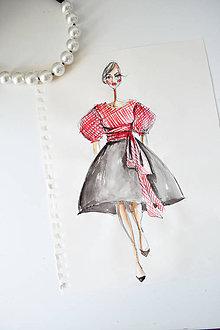 Kresby - Fashion sketch A4 (Fashion skica - Gingham top a veľká čierna sukňa) - 8839506_