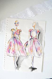 Kresby - Fashion sketch A4 (Fashion skica - Farebné šaty) - 8839520_