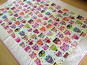Úžitkový textil - Sovičková ružová deka - 8838685_