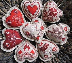 Dekorácie - Srdcia srdénkové (Srdcia srdénkové - vidiecke červené 1ks) - 8846085_