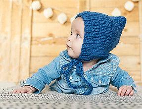 Detské čiapky - Zimný čepček pixie VLNA ALPAKA - DENIM - 8840713_