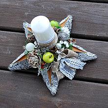 Dekorácie - Vianočná dekorácia hviezda, prírodná, biela - 8841812_