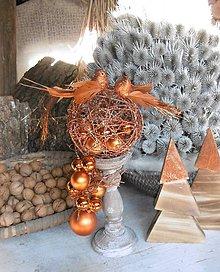 Dekorácie - Luxusná vianočná dekorácia s vtáčikmi - 8844552_