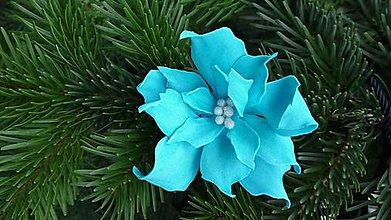 Dekorácie - Tyrkysová vianočná ruža - 8840628_