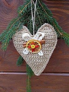 Dekorácie - Veľké srdce prírodné, vianočné i celoročné /22 cm/ - 8842206_