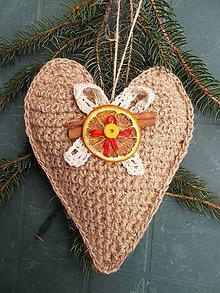 Dekorácie - Srdce jutové, aj vianočné /17 cm/ - 8845009_