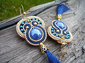 Náušnice - Soutache náušnice Gold&Blue - 8843582_