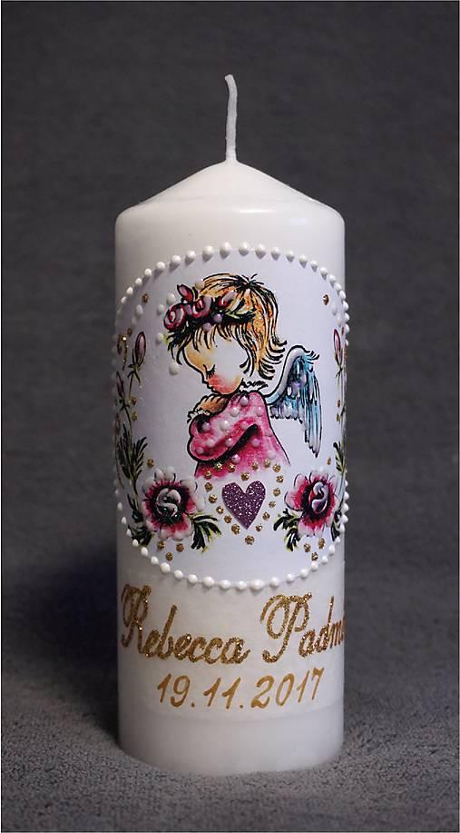 krstová sviečka s ružičkami - ružová
