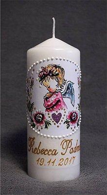 Svietidlá a sviečky - krstová sviečka s ružičkami - ružová - 8844598_