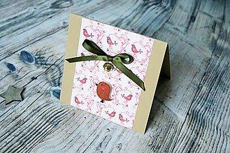 Darčekové poukážky - vianočný pozdrav (vtáčik letáčik) - 8842826_