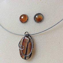 Sady šperkov - oceľová s oranžovo priehľadným achátom - 8842781_