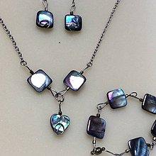 Sady šperkov - oceľová sada s modrastou perleťou - 8842930_