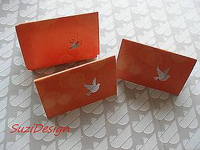 Papier - menovky, visačky motív holubička / 15ks - 8842740_