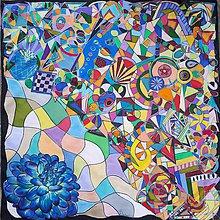 Šatky - Vivat geometria-hodvábna maľovaná šatka - 8845460_