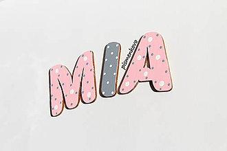 Detské doplnky - MIA dievčenské meno s drevených písmeniek - 8845071_