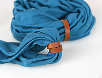 - Dámsky set - nákrčník a čelenka do vlasov z francúzskej modrej ľanovej látky - 8844179_