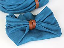 Šatky - Dámsky set - nákrčník a čelenka do vlasov z francúzskej modrej ľanovej látky - 8844180_