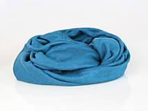 Šatky - Dámsky set - nákrčník a čelenka do vlasov z francúzskej modrej ľanovej látky - 8844184_