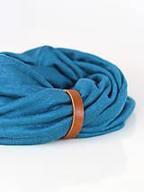 Šatky - Dámsky set - nákrčník a čelenka do vlasov z francúzskej modrej ľanovej látky - 8844185_