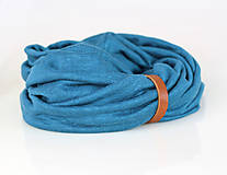 Šatky - Dámsky set - nákrčník a čelenka do vlasov z francúzskej modrej ľanovej látky - 8844186_