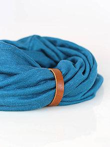 Šály - Modrý jemný nákrčník z jersey francúzskej ľanovej látky - 8844114_
