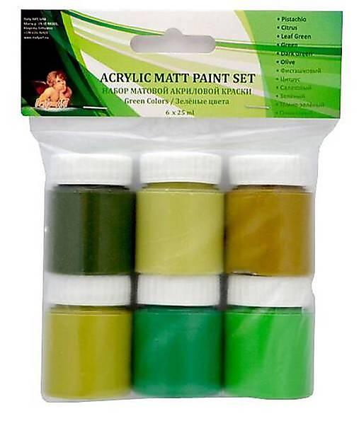 Sada matných akrylových farieb  -zelené