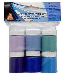 Farby-laky - Sada mat. akrylových farieb-modré-akcia - 8845717_