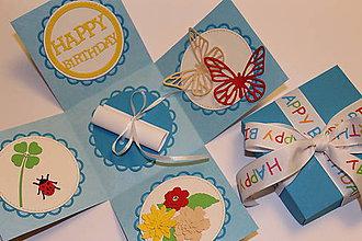 Krabičky - Narodeninová exploding box (s motýľami) - 8843395_