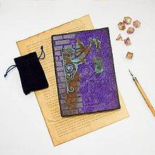 Papiernictvo - Kronika modrého draka - zápisník s murovanou hradbou a hrdzavým drakom - 8843190_