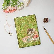 Papiernictvo - Vintage zápisník Wish - zelený so zlatým damaškovým ornamentom - 8843204_