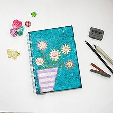 Papiernictvo - Tyrkysový skicár s vázou a kvetmi - 8843208_