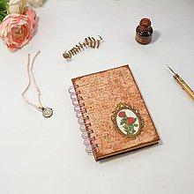 Papiernictvo - Vintage zápisník ružový s viktoriánskymi ružami - 8843216_