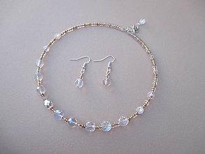 Sady šperkov - Perleťovo-zlatá sada šperkov-náhrdelník+náušnice - 8842686_