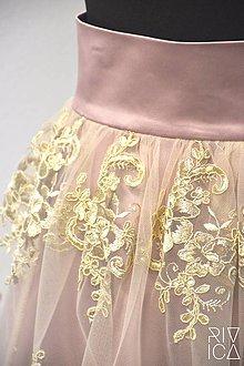 Sukne - spoločenská sukňa staroružová s krajkou - 8846160_