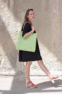 Kabelky - Velká taška z přírodní plsti, světle zelená - 8844998_
