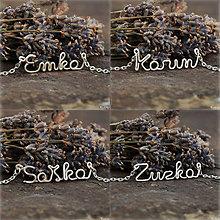 Náhrdelníky - Náhrdelník s menom z postriebreného drôtu - do 5 písmen - 8842209_