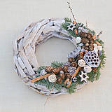 - Prírodný drevený vianočný veniec - 8840376_
