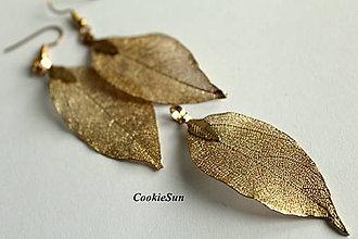 Náušnice - Pure Leaves Gold (Sada) - 8842658_